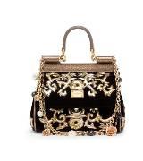 D&G黑色绒面手提包