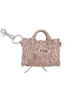 巴黎世家(Balenciaga)2013早春珠光粉色皮质机车包小挂件