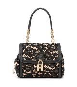 D&G黑色豹纹蕾丝手提包
