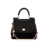 D&G黑色蕾丝暗纹手提包