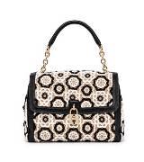 D&G黑白绣花手提包
