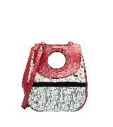巴黎世家(Balenciaga)2013早春红皮浅绿浅灰几何造型单肩包