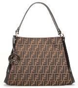 芬迪Fendi棕色皮革手提包