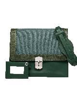 巴黎世家(Balenciaga)2013早春墨绿色皮质布面拼接单肩包