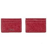 Furla芙拉红色皮革多层卡片夹