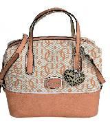 GUESS Chaela系列LOGO印花粉色手袋