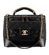 Chanel香奈儿黑色牛鹿皮化妆包