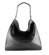 Jean Paul Gaultier黑色皮革印花手提包