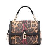 D&G咖色豹纹金属锁扣手提包