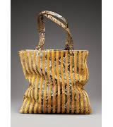 Bottega Veneta葆蝶家丝绒与蛇皮混合条纹手拎包