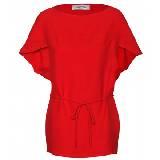 Valentino大红色蝙蝠袖收腰系带连衣裙