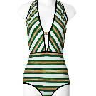 Louis Vuitton三色条纹连体泳衣