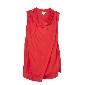 DKNY红色无袖不对称衬衫