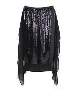 DKNY黑色亮面半身裙