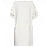 Valentino白色蝙蝠袖收腰系带连衣裙