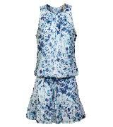 DKNY JEANS蓝色花朵荷叶边连身裙