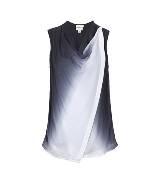 DKNY黑白无袖不对称衬衫