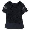Louis Vuitton真丝薄纱拼接棉质刺绣上衣