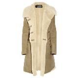 Balmain巴尔曼浅棕色双排扣羊皮大衣