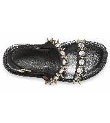Marni黑色双排铆钉宝石平底凉鞋