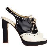Kate Spade2013春季黑白相间系带高跟鞋 Rebecca