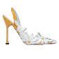 Manolo Blahnik黄白拼色花朵尖头高跟凉鞋