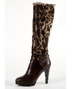拉夫·劳伦Ralph Lauren豹纹高跟长靴