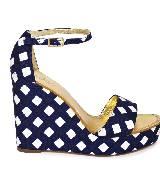 Kate Spade2013春季蓝白方格坡跟凉鞋 Dabney