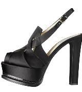 Moschino黑色缎面高跟鞋