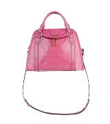 Marc Jacobs桃红色皮质手拎肩背两用包