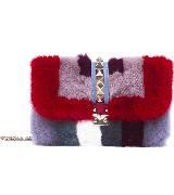 Valentino华伦天奴2014秋冬系列红紫皮毛拼接单肩包
