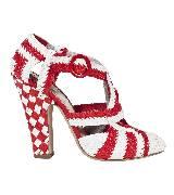 普拉达Prada红白色草藤编织高跟凉鞋
