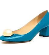 kate spade蓝色漆皮矮跟鞋