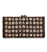 Salvatore Ferragamo珠片水钻饰棕色手拿包