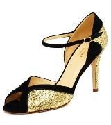 kate spade黑色麂皮亮片高跟鞋