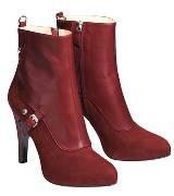 Longchamp酒红色短靴