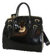 Ralph Lauren拉夫·劳伦2013秋季系列黑色金属搭扣手拎包