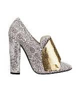 圣罗兰YSL灰色粗跟印纹高跟鞋