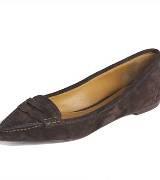 拉夫·劳伦Ralph Lauren深褐色尖头平底鞋