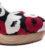 圣罗兰YSL麻织印花坡跟厚底鞋
