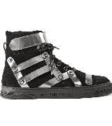 Jean Paul Gaultier高缇耶2013秋冬系列银黑色拼接平底鞋