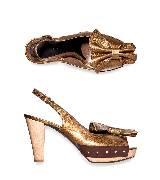 Marni金色褶皱结饰高跟露趾鞋