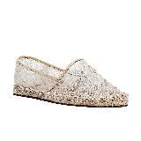 Valentino白色蕾丝草编鞋