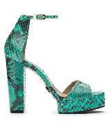 Michael Kors绿色蟒蛇纹粗高跟凉鞋