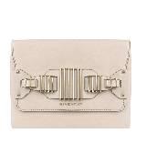 Givenchy扣链饰奶油色皮革手拿包