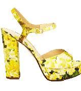 Kate Spade2013春季黄色花朵粗高跟凉鞋 Ila