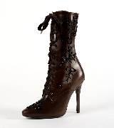 拉夫·劳伦Ralph Lauren刺绣花纹饰高跟靴