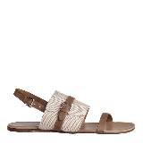 Hermes巴拿马H帆布和ÉTRIVIÈRE小牛皮凉鞋