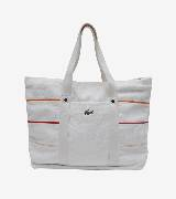 LACOSTE法国鳄鱼白色彩条饰购物包