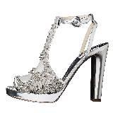 Moschino彩珠镶饰银色镜面T字绑带高跟凉鞋